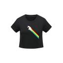 Unicorn Rainbow Printed Round Neck Short Sleeve Cropped Tee