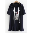 Floral Embellished Deer Printed Drawstring Hood Short Sleeve Ruffle Hem Mini Hooded Dress
