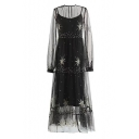 Fairylike Round Neck Star Embroidered See Through Ruffle Hem Two Pieces Midi Dress