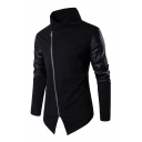 Simple PU Patchwork Long Sleeve Stand Up Collar Zip Up Notched Hem Sweatshirt