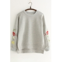 Spring Fashion Floral Embroidery Round Neck Long Sleeves Dipped Hem Sweatshirt