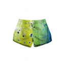 Drawstring Waist Color Block Printed Leisure Shorts with Pockets