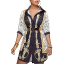 Fashion Color Block Printed Lapel Collar Half Sleeve Buttons Down Midi Shirt Dress