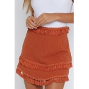 Summer's New Arrival Chic Plain Tassel Embellished Mini A-Line Skirt