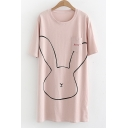 Cartoon Rabbit Printed Letter Embroidered Pocket Round Neck Short Sleeve Mini T-Shirt Dress