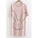 Cartoon Rabbit Printed Letter Embroidered Pocket Round Neck Short Sleeve Mini T-Shirt Dress