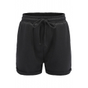 Basic Plain Roll Cuff Drawstring Waist Leisure Shorts with Pockets