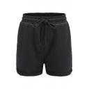 Basic Plain Roll Cuff Drawstring Waist Leisure Shorts with Pockets