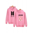 Retro Fashion Letter Number Print Long Sleeves Pullover Hoodie with Pocket