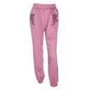 Women's Street Fashion Tiger Embroidery Elastic Waist Striped Side Loose Joggers