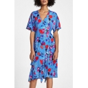 Hot Sale Floral Print V-Neck Ruffle Detail Short Sleeve Zip Back Midi A-line Dress