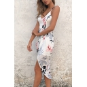 Sexy Fashion Floral Print High Low Hem Spaghetti Straps Cami Dress