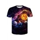 Top Sale Galaxy Planet Print Round Neck Short Sleeves Casual Tee