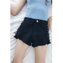 Girlish Lace-up Side Raw Edged Zipper Fly High Waist Loose Denim Shorts