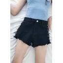 Girlish Lace-up Side Raw Edged Zipper Fly High Waist Loose Denim Shorts