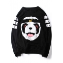 Lovely Panda Letter Printed Round Neck Long Sleeve Unisex Pullover Sweatshirt