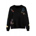 Hot Sale Round Neck Letter Printed Long Sleeve Pullover Sweatshirt