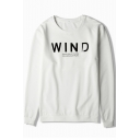 Basic Fashion Letter Print Round Neck Long Sleeves Pullover Sweatshirt