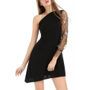 Elegant One Shoulder Floral Sheer Mesh Insert Long Sleeve Mini Asymmetric Hem Dress