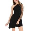 Elegant One Shoulder Floral Sheer Mesh Insert Long Sleeve Mini Asymmetric Hem Dress