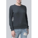 Natural Simple Basic Plain Round Neck Long Sleeves Slim Fit Pullover Sweatshirt