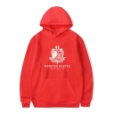 Trendy Badge Letter Print Long Sleeves Pullover Hoodie with Pocket