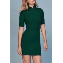 Chinese Threaded Plain Buttons Embellished Short Sleeve Stand Up Collar Mini Bodycon Dress