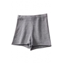 Comfort Plain Leisure Roll Hem Elastic High Waist Shorts