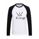 Color Block Raglan Long Sleeve Round Neck Crown Letter Printed Graphic Tee
