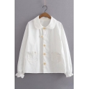 Bow Embroidered Patched Pockets Peter Pan Collar Long Sleeve Buttons Down Shirt