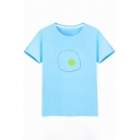 Simple Fried Egg Print Round Neck Short Sleeves Summer T-shirt