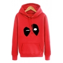 Popular Mask Print Long Sleeves Pullover Hoodie with Pocket