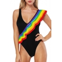 Unique Rainbow Print Plunge Neck Ruffle Detail Slim One Piece Swimwear