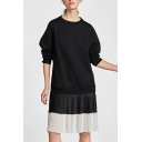 Spring Fashion Round Neck Color Block Pleated Patchwork Loose Sweatshirt Dress