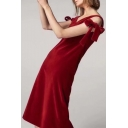 Popular Bow Tie Side V-Neck Plain Velvet Midi Tank Dress
