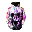 Digital Splash Ink Skull Printed Long Sleeve Unisex Loose Hoodie
