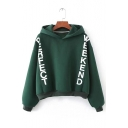 Hot Style Letter Print Long Sleeves Fleece Lined Pullover Cropped Popular Hoodie