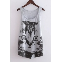 Lovely Cat Printed Scoop Neck Sleeveless Leisure Slim Tunic Tank