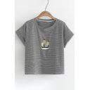 Cactus Embroidered Striped Printed Round Neck Short Sleeve Roll Cuff Detail Tee