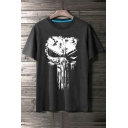 Unique Skull Mask Print Round Neck Short Sleeves Casual Tee