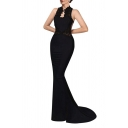 Lace Sheer Mesh Insert Back Hollow Out Front Sleeveless Maxi Bodycon Party Dress