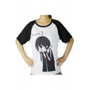 Fancy Color Block Cartoon Pattern Monochrome Round Neck Short Sleeves Tee