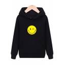 Chic Simple Smile Face Long Sleeve Leisure Hoodie with Pocket