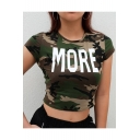 Chic Camouflage Letter Printed Round Neck Short Sleeve Cropped Tee