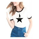Character Letter Printed Contrast Trim Round Neck Short Sleeve Tee