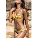 Top Design Floral Print Hollow Out Waist Sexy Summer Bikini Swimwear