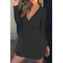 Lace Insert V Neck Long Sleeve Slim Midi Bodycon Dress