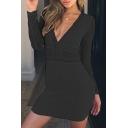 Lace Insert V Neck Long Sleeve Slim Midi Bodycon Dress