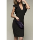 Women's Stylish Plunge Neck Ruffle Cap Sleeve Midi Plain Pencil Dress