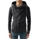 Hot Fashion Zipper Detail Long Sleeve Men's Casual Drawstring Hoodie